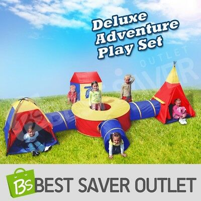 Large Play Tent Kids Toddlers Teepee Tunnel Pop Up Children Cubby Playhouse Toy