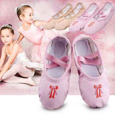 Children Kids Girls Leather Soft Ballet Dance Shoes Slippers Split Sole Flat New