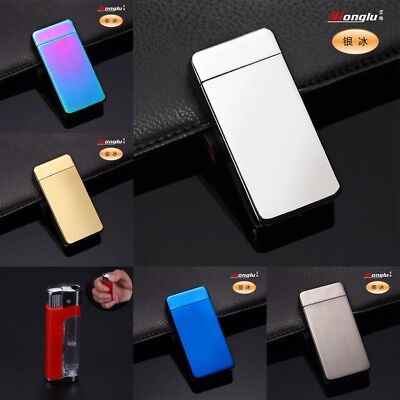 USB Electric Dual Arc Metal Flameless Torch Rechargeable Windproof Lighter i5aF