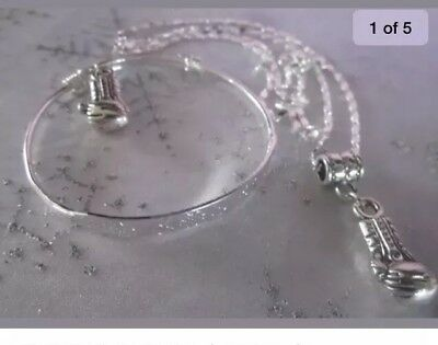 """Boxing Glove&stchristopher Charm+925 18"""" Chain&ain Bangle/boxed."""