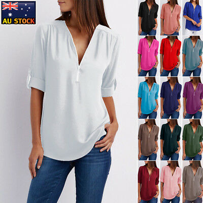 AU Women V Neck Plain Blouse Tee Shirt Casual Ladies Long Sleeve Zipper Tops