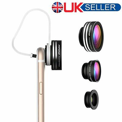 Mpow 3 in 1 Clip-On Fisheye Wide Angle Macro Lens Kits for Smartphone Camera UK