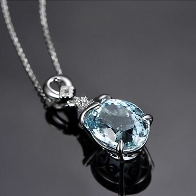 Fashion Gemstone Silver Natural Chain Aquamarine Jewelry Pendant Necklace Gift
