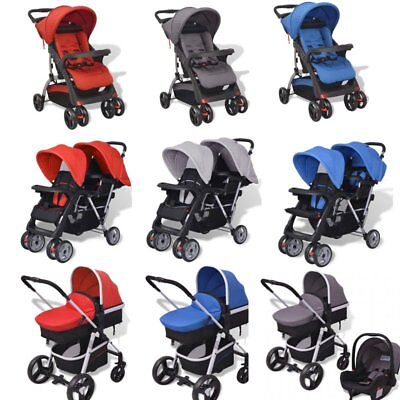 3-in-1 Folding Double Baby Pram Stroller Child Pushchair Car Seat Carrycot Buggy