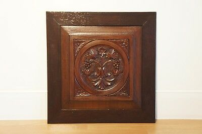 Vintage Wooden Framed Wall Panel, Hand Carved Flowers & Leaves, Plaque, Picture.