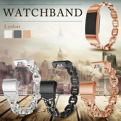 Rhinestone Stainless Steel Replacement Strap Metal Watchband For Fitbit Charge2