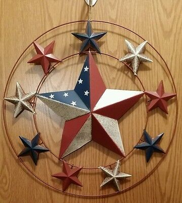 "Primitive Americana Patriotic Barn Star Tin Star Country Rustic 18"" Wreath New"