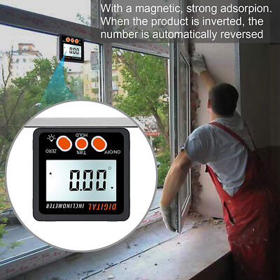 4*90° Digital Angle Finder Inclinometer Level Box Protractor Bevel Gauge Magnet