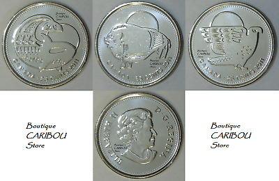 2011 Canada Regular and Coloured Orca Bison and Falcon 25 Cents BU