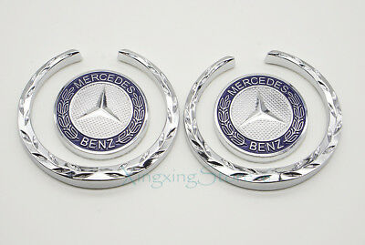 1Pair Metal Car Side Emblem Badge Sticker Logo Accessories for Mercedes Benz