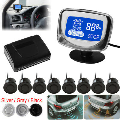 Waterproof 8x Rear and Front View Car Parking Sensors + LCD Monitor - 3 Colors