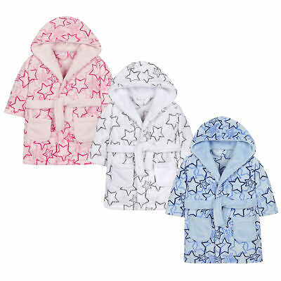 Baby Girls & Boys Star Print Dressing Gown Robe Plush Fleece Unisex Supersoft