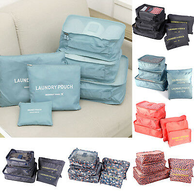 Pack of 6 Clothes Packing Cube Travel Storage Bag Luggage Makeup Organizer