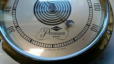 Vintage Grain Belt premium Beer thermometer (Made in Germany) brass ring thick G