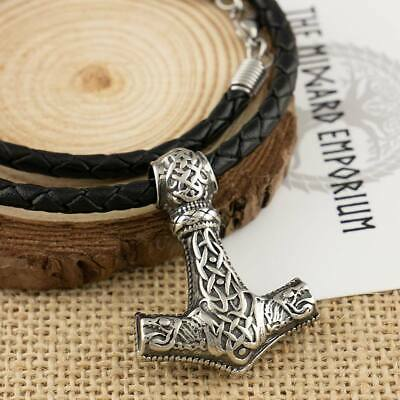 Viking Wolf Thors Hammer Stainless Steel Pendant Chain or Leather Necklace