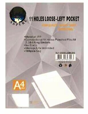 100 A4 Punched Pockets Poly Plastic Glass Clear File Document Ring Binder Value