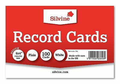 "Silvine Record Cards 6"" x 4"" PLAIN Flash Cards Revision Flash Cards WHITE  new"