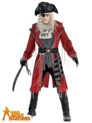 Adult Zombie Pirate Costume Caribbean Mens Halloween Horror Fancy Dress Outfit