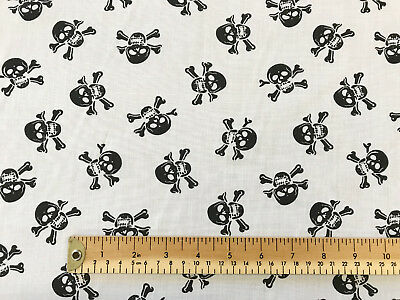 Halloween Fabric - Black on White Skulls - Polycotton Craft Material Metre