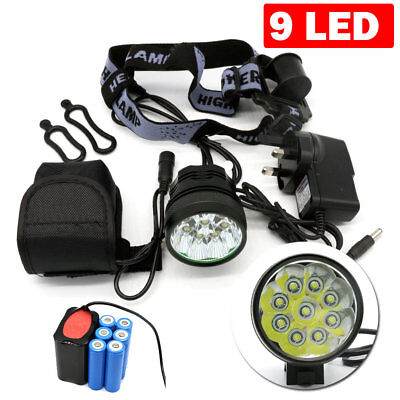 12000Lm 9LED XML T6 Bicycle Bike Light Cycling Head Lamp Battery Charger UK
