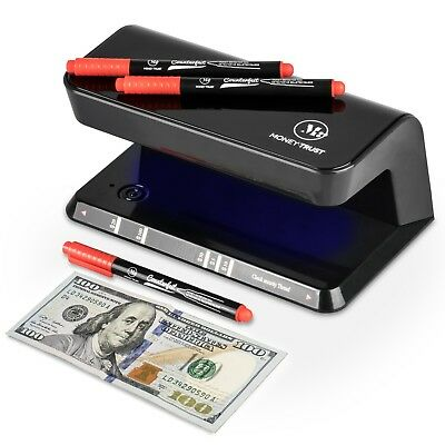 Counterfeit Bill Detector System with Ultraviolet Light and 3 Detector pens.