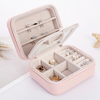 Leather Jewelry Box Organizer Travel Case Earring Ring Necklace Women Fashion US