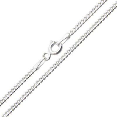 """Sterling Silver Necklace Curb Chain 2mm - 925 Italy 16"""", 18"""", 20"""", 22"""", 24"""", 30"""""""