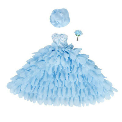 2X( Wedding dress and hat with flower for Barbie dolls (blue) W6R6)