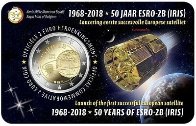 #Rm# Coincard 2 Euro Commemorative Belgique 2018 - Iris Satellite