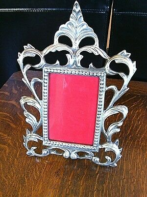 Vintage Picture Frame Metal Freestanding Art Deco Style Rectangle 3.3/4 x 5.3/4