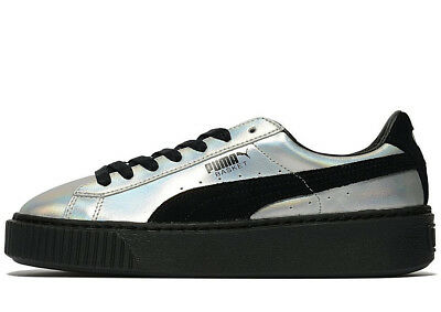 timeless design cc154 95e4f PUMA BASKET PLATFORM Explosive ® (Women Size UK 8 EU 42) Metallic Silver /  Black