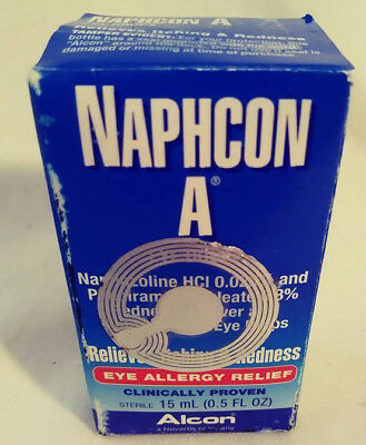 Naphcon A Relieves Itching & Redness Eye Allergy Relief 0.5 Oz Alcon Free Ship