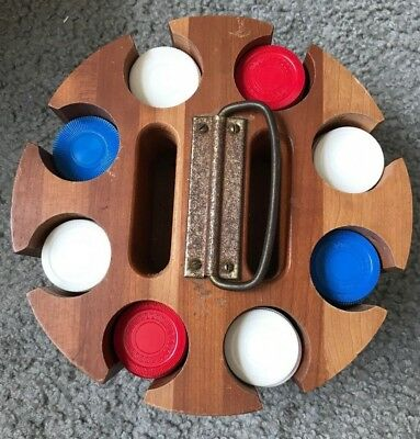 Vintage Wooden Poker Chip Holder with Carousel Base with Plastic Chips