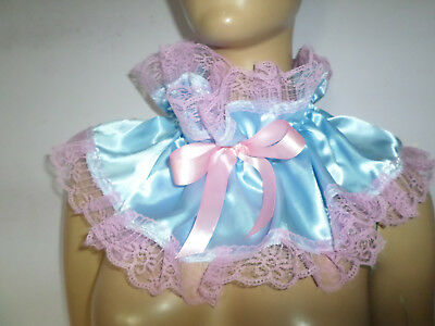 Adult Baby Frilly  Blue Satin   Sissy  Collar  Pink Lace Trim Satin  Bows