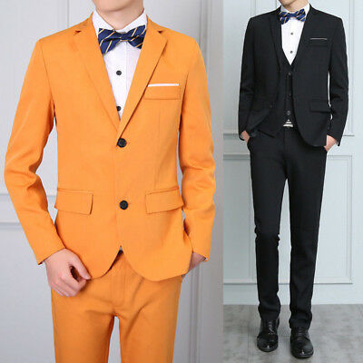 Men's Three-Piece Business Leisure Suit Dress Formal Wedding Grooms Coat+ Pants
