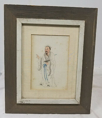 Antique Vintage Republic Watercolor Chinese Painting Scholar Framed Mid Century