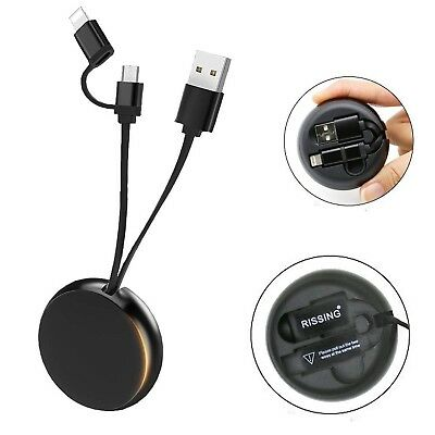 RISSING Retractable 2-in-1 USB Port to Micro USB Cable for Rapid Data & F... New