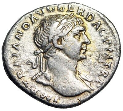 """Trajan Silver AR Denarius 103-111 AD """"Victory With Palm Frond"""" Rome Mint"""
