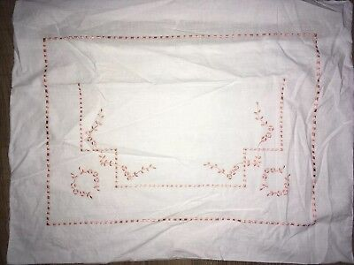 Vintage Floral Embroidered Sheet 2 Matching Pillow Shams Pink Heavy Weight