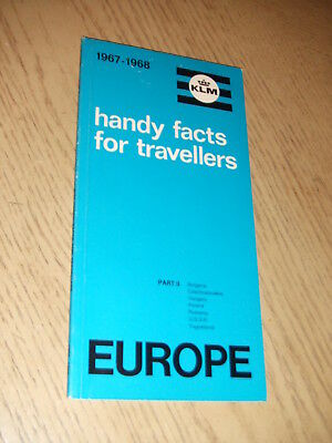 1967 KLM Royal Dutch Airlines Handy Facts for Travellers EUROPE Booklet Pt 2 ENG