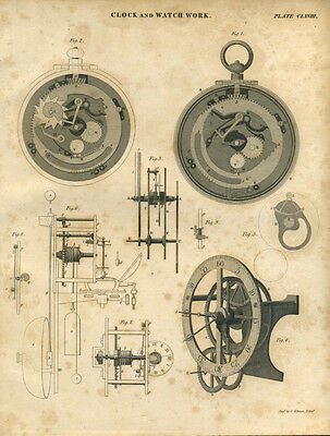Antique print CLOCK & WATCH WORK - Horology - copper plate engraving - 1842 - C6