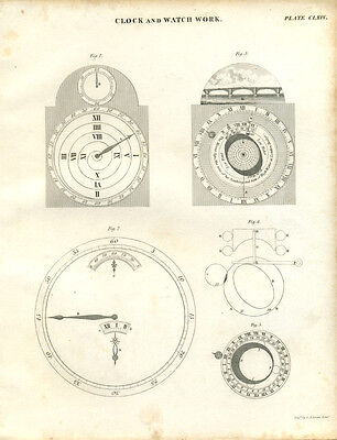Antique print CLOCK & WATCH WORK - Horology - copper plate engraving - 1842 - C2