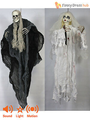 Animated Skeleton Reaper Hanging Halloween Prop Light Up Sound Party Decoration