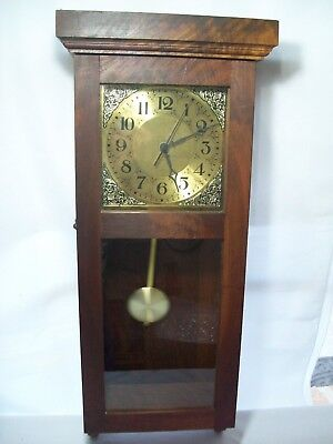 Large Antique Style Wall Clock with Pendulum Quartz Movement Dark Hardwood