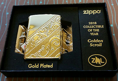 Zippo 29653 Armor 2018 Collectible COY Gold Plated Scroll NEW Lighter 4089/12000