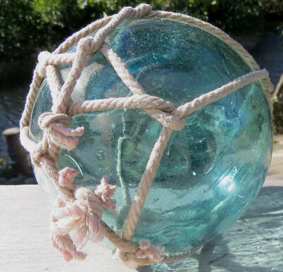"Japanese Glass Fishing Float 5"" Blue/Aqua Netted RARE SIZE Antique"