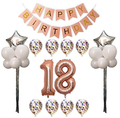 18th Birthday Party Decorations Balloons Banner Rose Gold 30 pcs Giant 18 set