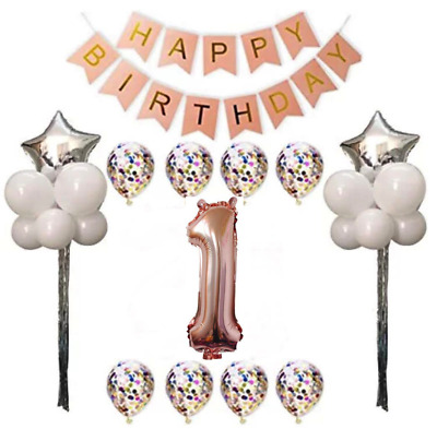 1st Birthday Party Decorations Balloons Banner Rose Gold 30pcs Large Giant 1 Set