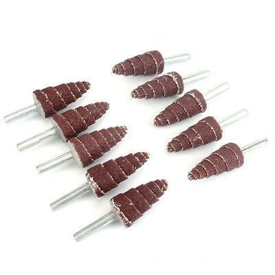 10pcs Sanding Sandpaper Cone Abrasive Cloth Polishing Rotary Tool 120# 6mm shank