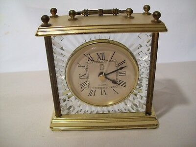 Vintage Paul Sebastian Carriage Mantel/Desk Clock Quartz Movement Brass & Glass